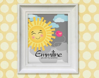 You are my Sunshine Art Print, Personalized Chidrens Wall Art  - 8x10 Baby Room Decor