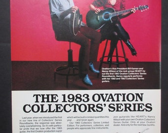 Vintage ad for Ovation guitars with Nancy Wilson of Heart, ready for framing | original | 1983