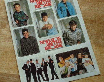 Vintage NKOTB New Kids On The Block Sticker Sheet From 1989