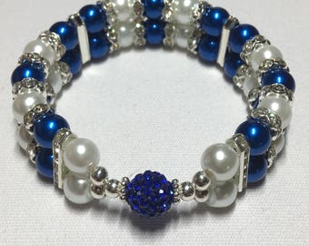 Double banded rhinestone ball (blue)