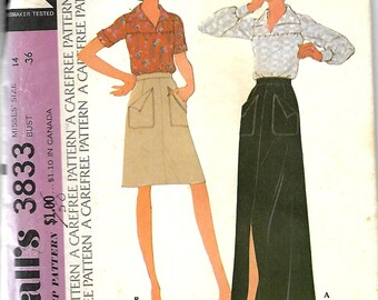 McCall's 3833 Misses Blouse And Skirt Pattern, Size 14, UNCUT