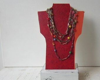SALE One Petite Necklace Bust Reversible - Red & Orange / Cream - Recycled Book Necklace Jewelry Display