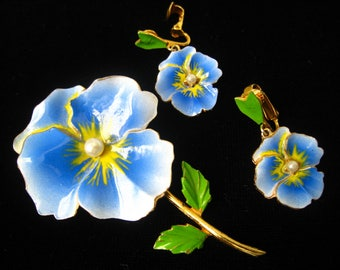 "SALE Pansy Brooch & Earring Set. Enamel Blue Petals. Green Leaves. Yellow Center Accents with Pearls.  Gold Plated Metal. Pin OVER 2.75""."