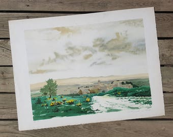Lithography from a work of Etienne Fougeron said Ten vintage