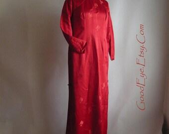 Vintage RED Silk Cocktail Dress 1960s Hong Kong / size 8 10 12 / Floor Length Maxi Long Slv / Far East Handmade Cheongsam  Qipao