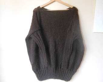Oversized Plus Size Hand Knit Sweater Tunic Loose Knit Dark Brown Women's Sweater