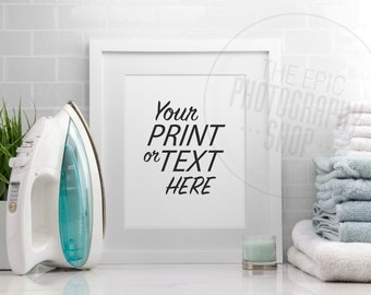 Styled Stock Photography / Print Background / Blank Frame / Product Photography / Staged Photography / Blue Towels Iron / Laundry / LR001