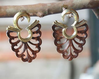 Brass hanging styles  or ear weights with hand carved wood, floral styles 2