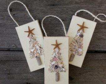 Seashell Tree Ornament, Crushed Shell Tree Ornament, Christmas Tree Ornament, Beachy Christmas, Coastal Christmas