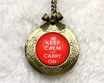 Keep calm and carry on Necklace, Keep calm and carry on locket  2020m