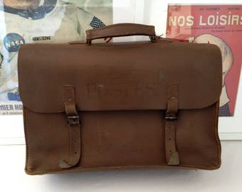 Towel/Briefcase/satchel leather French post. Year 1950