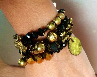 Black and gold multiple layers bracelet
