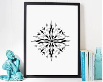 Geometric mandala wall art; Office Decor Black and White print art, abstract painting, Living Room Decoration, minimalist geometric drawing
