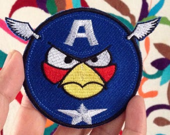 Angry Birds Captain America Iron On Patch