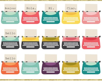 Typewriters clip art images,  typewriter clipart, instant download