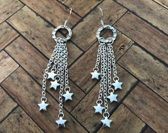 Silver Drop Stars on Chains Earrings