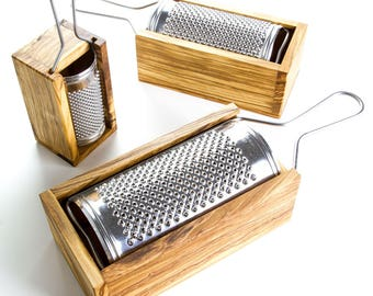 Italian Made Cheese Grater With Olive Wood Box - three sizes available