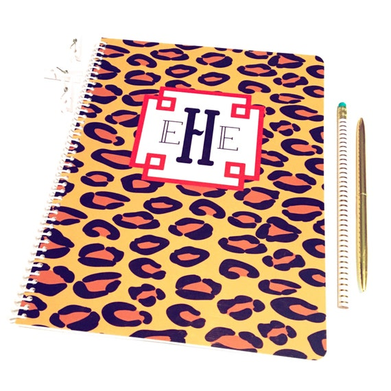 Leopard print monogrammed spiral notebook, spiral notebook, cheetah print stationery, personalized notebook, animal print notebook