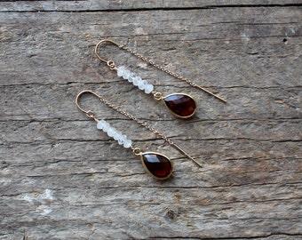 Moonstone and Garnet Gold Filled Threader Earrings