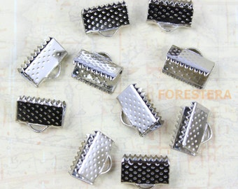 50Pcs 10mm Clamps Crimp Ribbon End Silver Textured Finish (PND205)
