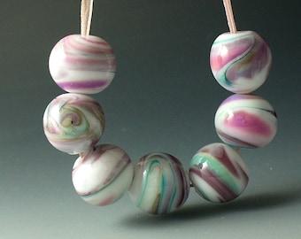 Lampwork beads/SRA lampwork/beads/pink/lavender/green/frit/pastel/