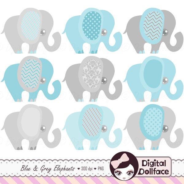 Blue Elephant Baby Shower Invitation Clipart Baby Boy Clip Art