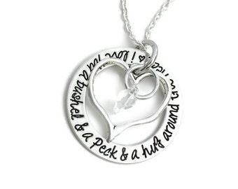 I Love You A Bushel And A Peck And A Hug Around The Neck -  Gift For Her - Gift For Wife - Hand Stamped Jewelry - Personalized Jewelry