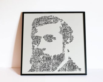 Antoni Gaudi poster - Biographical Portrait with Intricate Doodles - Architect poster - Ltd Edition of 100