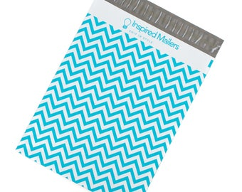 """Blue Chevron Printed Mailers 10x13"""" - Pack of 100 - FREE SHIPPING"""
