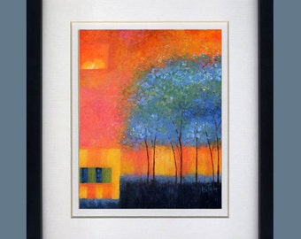 Abstract Blue Trees Print