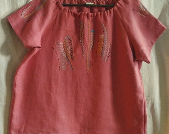 Burnt-Coral Hand-Embroidered and Sewn Linen Tunic *One of a Kind*, L/XL Made in USA. Elegant comfort -  this top won't let you down