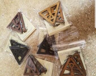 Triangle ankh earrings