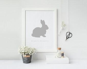 Hippity Hoppity Modern Easter bunny Print