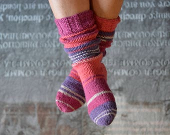 Thick wool socks, hand knitted 37/38, pink