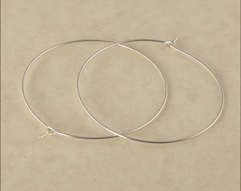 "Hoop Earrings - 1-1/2"" (40mm) Silver Hoop Earrings - Sterling Silver Hoop Earrings - Thin Hoop Earrings - Silver Hoop Earrings"
