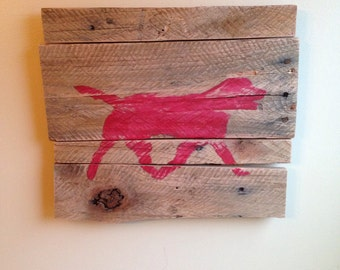 Labrador Silhouette Sign from Reclaimed Wood (Red)