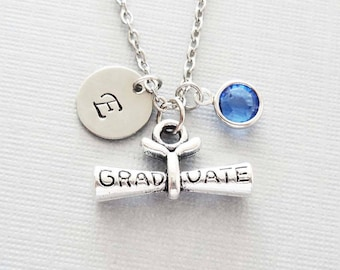 Diploma Necklace, Graduation Jewelry, Graduate Gift, BFF, Silver Initial, Swarovski Birthstone, Personalized, Monogram, Hand Stamped Letter