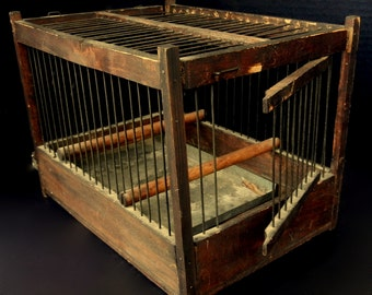 VINTAGE FRENCH BIRDCAGE //  8 x  8 x 10 3/4 wide //  Small Wood and Wire Birdcage with two Perches, Spring Door, cleaning tray  //