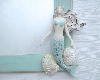 Mermaid/Shell Mirror/Distressed Turquoise