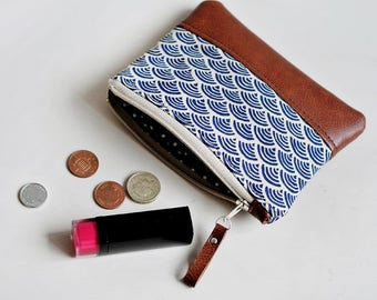 Blue Coin Purse Leather Purse Card Holder Leather Coin Pouch Change Purse Gift for Her Womens Wallet Travel Pouch Zipper Pouch Japanese Navy