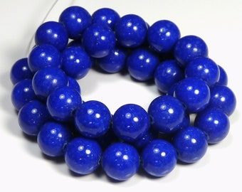 6mm Lapis Blue Mashan Jade Round Gemstone Beads - 16 Inch Strand - BB27