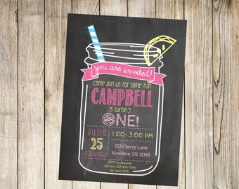 Lemonade Invitation, Lemonade Party, First Birthday Lemonade Invite, Chalkboard Invitation