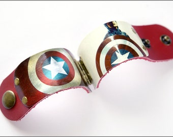 Vintage Captain America Super Hero Leather Cuff Bracelet
