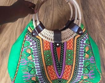 Green African Dashiki / Angelina print wooden handle hobo bag