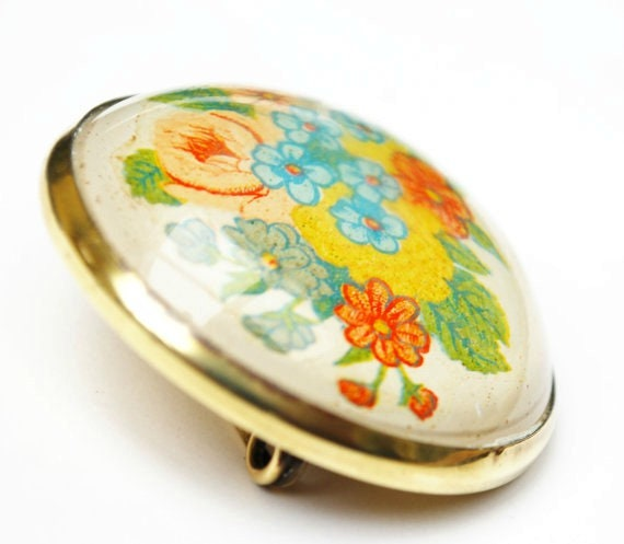 Glass Domed Flower brooch Brass floral Intaglio  reverse glass pin