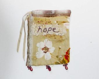 art journal, book art, mixed media book . hope