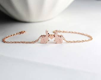 Two Bunny Bracelet, Bunny Jewelry, Couple Bunny , Rose Gold Animal Jewelry, Bunny Rabbit Bracelet,Two  Bunny Rabbit , Bunny Rabbit Jewelry