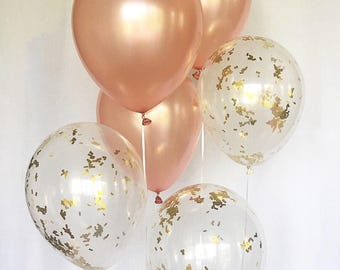 Rose Gold Balloons Rose Gold Confetti Latex Balloons Rose Gold Bridal Shower Rose Gold Wedding Rose Gold Balloons Bachelorette Party Rose