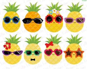 Pineapple Clipart, Cute Pineapple Clip Art , Sunglasses clipart , Summer Clipart, Tropical clipart