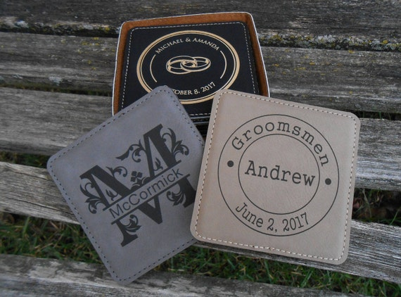 Personalized Coasters. CHOOSE YOUR DESIGN. Groomsmen Gift, Christmas, Anniversary, Groom, Best Man. Rustic, Favor. Leather.